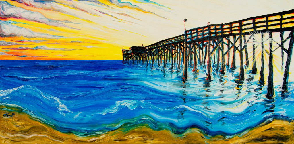 Newport Pier III 24x48 oil on canvas