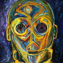 """C3PO"" 11×14 oil on canvas board"