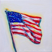American Flag 3 – 6×6 oil on canvas