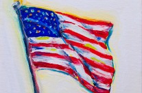 American Flag 3 – 6×6 oil on canvas