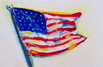 American Flag 2 – 6×6 oil on canvas
