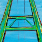 """Bidwell Bar Bridge"" 16×40 oil on canvas"