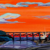 """Noyo Bridge"" 10×20 oil on canvas"