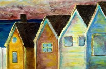 """Beach Houses"" 12×24 mixed media"