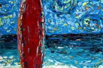 """Red Surfboard"" 16×20 acrylic on canvas"
