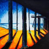 """Pismo Pier"" 30×30 oil on canvas"