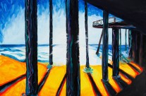 """Pismo Pier"" 30×30 oil on canvas"