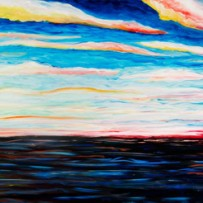&#8220;November Sunset&#8221; 20&#215;60 oil on canvas