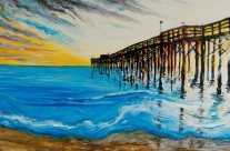 """Newport Pier II"" 24×48 oil on canvas"