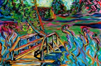 """Butte Meadows Bridge"" 30×40 oil on canvas"