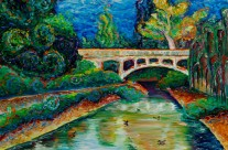 &#8220;UCD Arboretum Bridge&#8221; 30&#215;40 oil on canvas