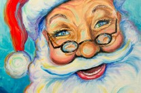 Santa 11×14 oil on canvas painting