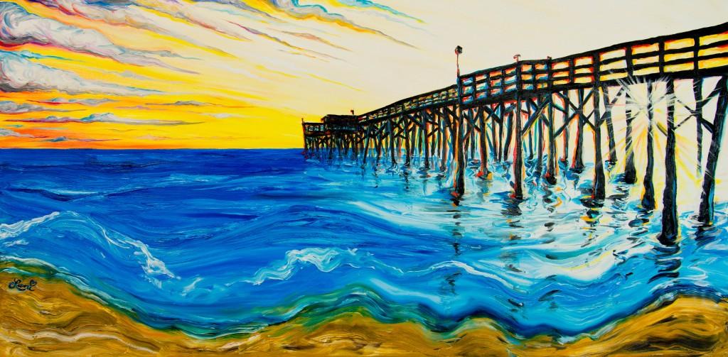 Newport Pier III 24x48 oil on canvas